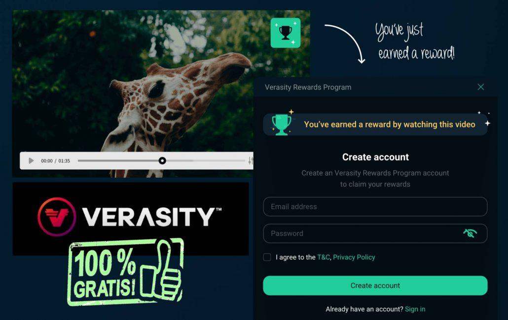 Logra tokens gratis de Verasity (VRA) por ver vídeos